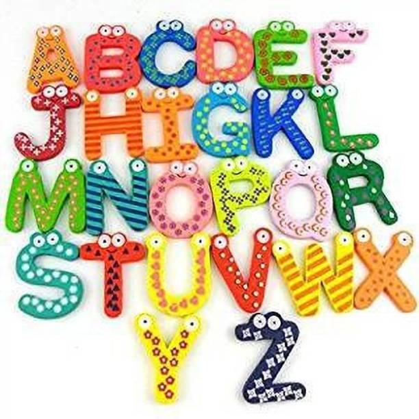Power Up Colorful Wooden A-Z Alphabet Letters Fridge Magnets Magnetic Stickers Fridge Magnet, Door Magnet Pack of 26