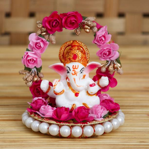 eCraftIndia Lord Ganesha Idol on Decorative Handcrafted Plate with Throne of Pink and Red Flowers Decorative Showpiece  -  9.5 cm