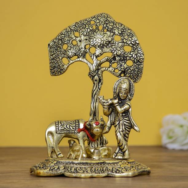 Flipkart SmartBuy Lord Krishna playing Flute under Tree with Golden Cow and Calf Decorative Showpiece  -  16.5 cm
