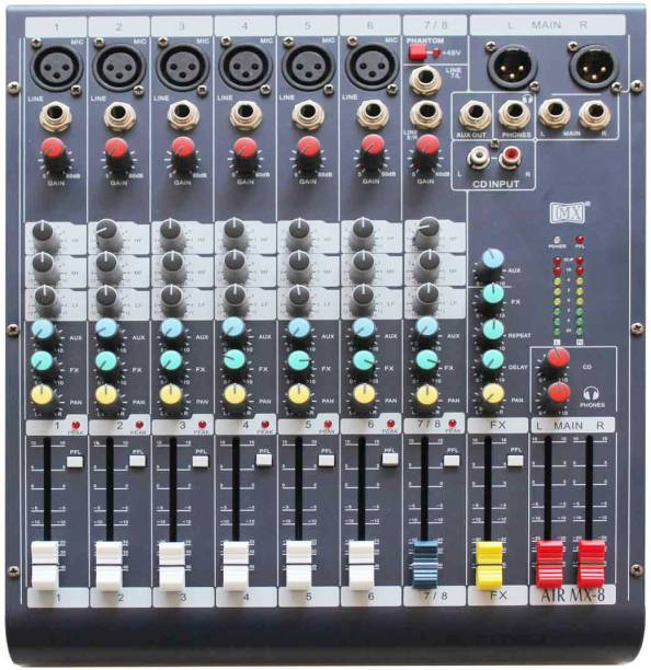MX Live Audio Mixer 8 Channel Professional Mixer - AIR 8 Analog Sound Mixer