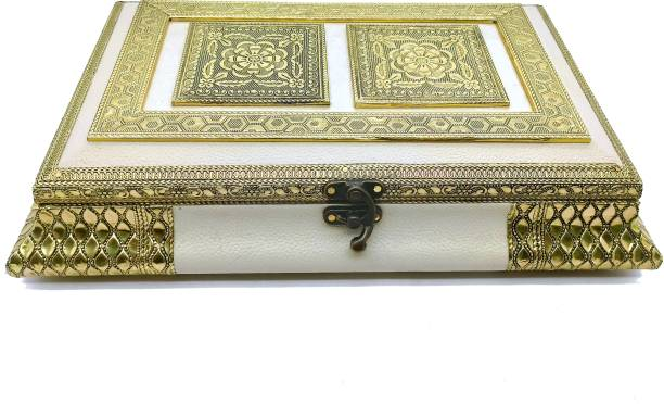 Vinayak K Dry Fruit Box /Dry Fruit Box / Wooden Dry Fruit Box / Sweets Box / Oxidized Meenakari Dry Fruit Box / Gift Box / Wedding Function For Home / Platter Wooden Decorative Platter Wood, Aluminium Decorative Platter (Gold, White) Wood Decorative Platter