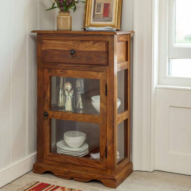 the brown wynk Solid Wood Crockery Cabinet