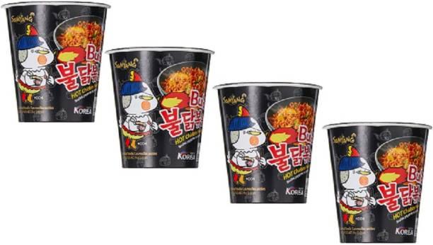 Samyang Hot Chicken Cup Ramen, 70 g Pack of 4 Hakka Noodles Non-vegetarian