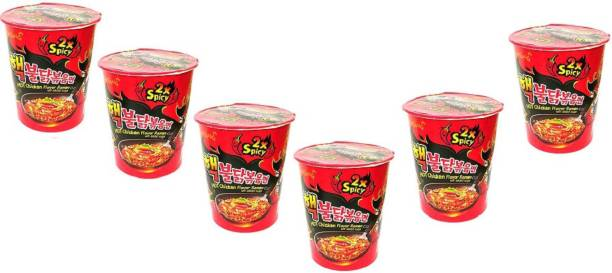 Samyang 2xSpicy Hot Chicken Flavour Ramen Cup, 70g - Pack of 6 Cup Noodles Non-vegetarian