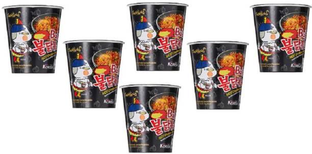 Samyang Hot Chicken Cup Ramen, 70 g Pack of 6 Hakka Noodles Non-vegetarian
