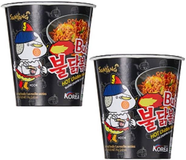 Samyang Hot Chicken Cup Ramen, 70 g Pack of 2 Cup Noodles Non-vegetarian