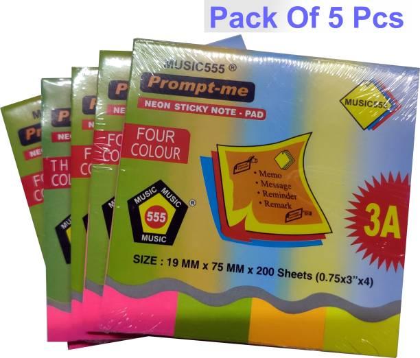 Music 555 REGULAR 200 Sheets UP SIDE GUM, 4 Colors