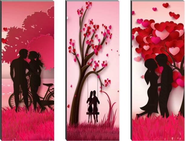 SAF Valentine's Day 6mm MDF Set of 3 Self Adhesive Panel Painting Digital Reprint 15 inch x 18 inch Painting