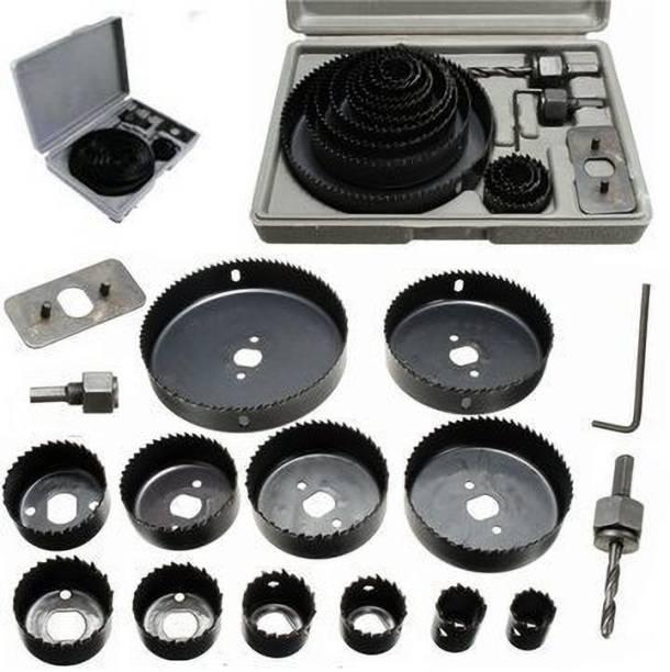 tool trust 16 Pcs Carbon Steel Hole Saw Cutting Tools (19-127mm) Rotary Bit Set
