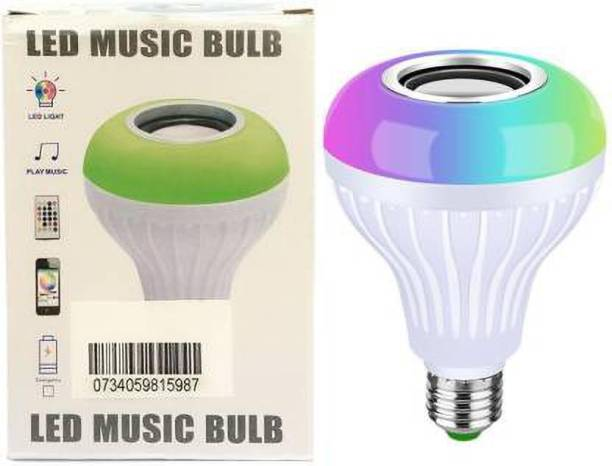 blushinsta Led Bulb with Bluetooth Speaker Music Light Bulb E27 LED White + RGB Light Ball Bulb Colorful Lamp with Remote Control for Home, Bedroom, Living Room, Party Decoration 12 W Bluetooth Speaker (White, Stereo Channel) Smart Bulb