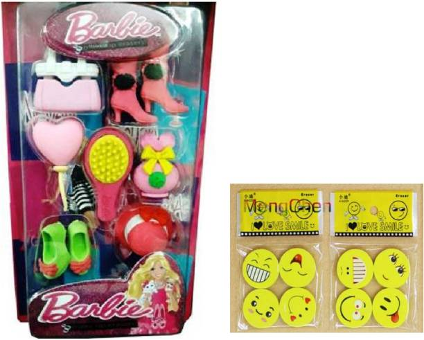 """Royle Katoch COMBO OF SMILEY FACE EMOJI ERASERS & BARBIE GIRL """"MAKEUP KIT SHAPE"""" Non-Toxic Eraser for Kids for Birthday Party Return Gifts Non-Toxic Eraser"""