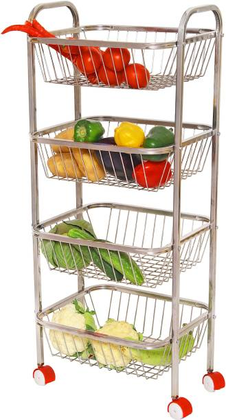 PARASNATH Mirror Finish 4 Shelf Square Vegetable and Fruit Trolley Made in India Steel Kitchen Trolley