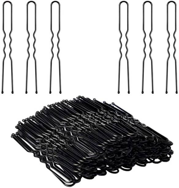 Buzon 100 pcs Curved U Shape For Bun juda Bobby Hairpin, Clips Barrette Styling Tools Accessories for Girls & Women Hair Pin Hair Pin