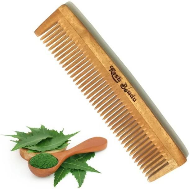 KeshBindu Handmade Neem Wood Broad Tooth Anti-Dandruff Comb For Men And Women