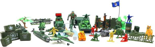 FunBlast Battlefield Army Military Play Set Toy for Kids with Mat, Push and Go Friction Powered Fighter Jet, Missile Launcher, Truck Car Toys for Boys