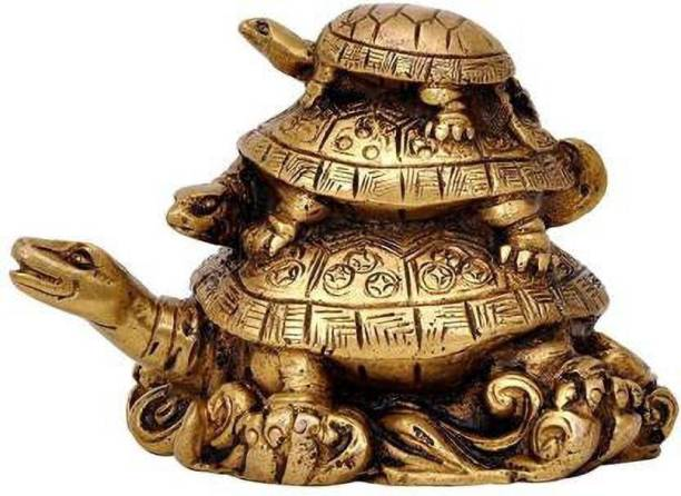 Ryme Three Tiered Turtle Tortoise Family For Health And Good Luck For Home Decorative Showpiece  -  10 cm