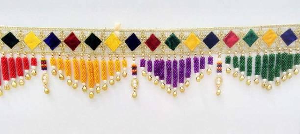 "SWADESI STUFF Handmade Door Hanging Bandhanwar Toran (Purple Triangle, 3 Ft, 36"" Inch.) Toran"
