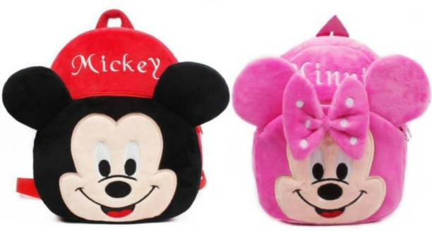 VIRAAJ COLLECTION MICKEY And MINNIE Bag Soft Material School Bag For Kids Plush Backpack Cartoon Toy | Children's Gifts Boy/Girl/Baby/ Decor School Bag For Kids(Age 2 to 6 Year) and Suitable For Nursery,LKG,UKG Student High Quality School Bag School Bag Plush Bag Plush Bag