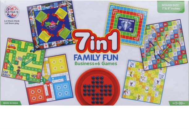 Ratnas Premium Quality 7 in 1 Family Fun Board Game Business,Ludo,Snakes & Ladders,Car rally,Cricket,Diamond Mine  Party & Fun Games Board Game