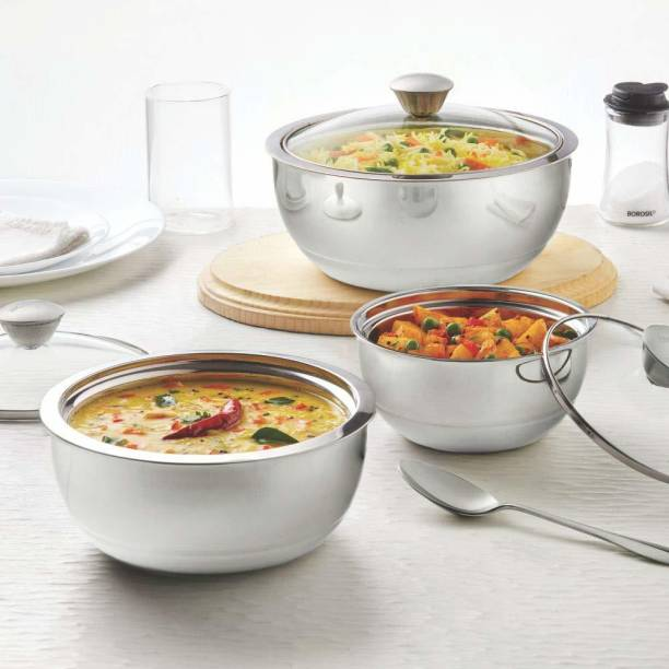 BOROSIL Stainless Steel Insulated Curry Server, Set of 3 (500ml + 900ml + 1.5L) Silver Pack of 3 Thermoware Casserole Set