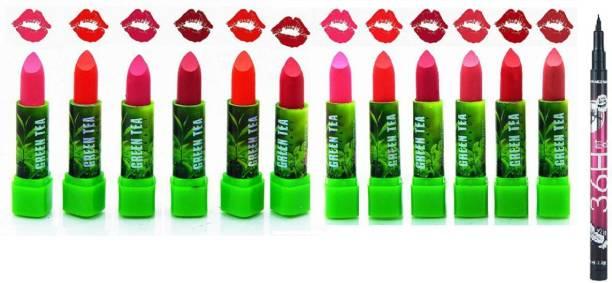 angelie Green Tea Matte Lipstick Set of 12 (Multicolour) With 36H Eyeliner