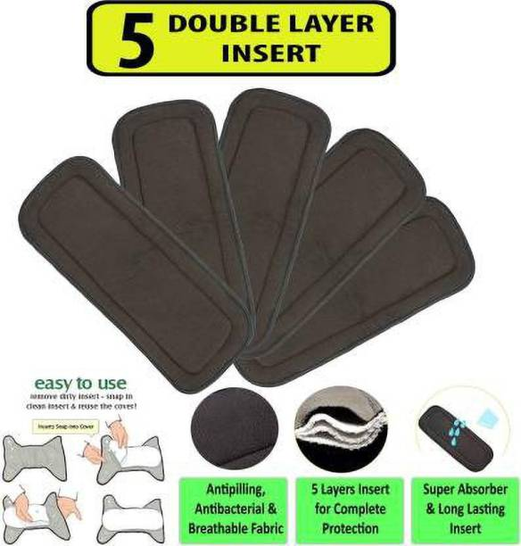 FABLITTLE 5 Layer Bamboo Charcoal Inserts Liners Natures Cloth Diaper Liner, Wetfree Reusable Washable Cotton Diaper Nappy Inserts for Baby Cloth Diapers (Set of 5) - New Born