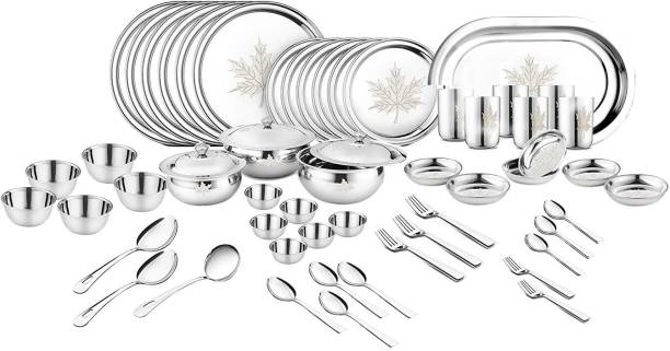 Classic Essentials Pack of 68 Stainless Steel Maple Dinner set ,68-Pieces,Silver -Heavy Gauge with Permanent Laser Design Dinner Set
