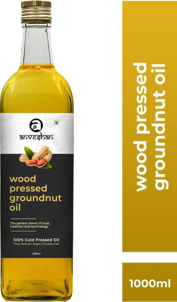 Anveshan Wood Pressed Groundnut Oil (Kacchi Ghani/ Kolhu/ Chekku) 1Litre Glass Bottle Groundnut Oil Glass Bottle
