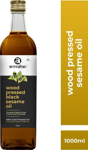 Anveshan Wood Pressed Sesame/Gingelly Oil (Kacchi Ghani/ Kolhu/ Chekku) 1Litre Glass Bottle Sesame Oil Glass Bottle