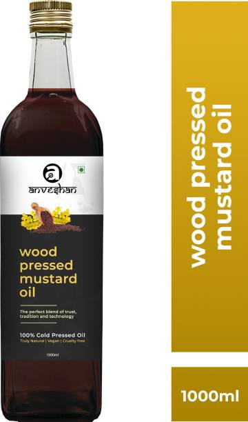 Anveshan Wood Pressed Mustard Oil (Kacchi Ghani/ Kolhu/ Chekku) 1Litre Glass Bottle Mustard Oil Glass Bottle