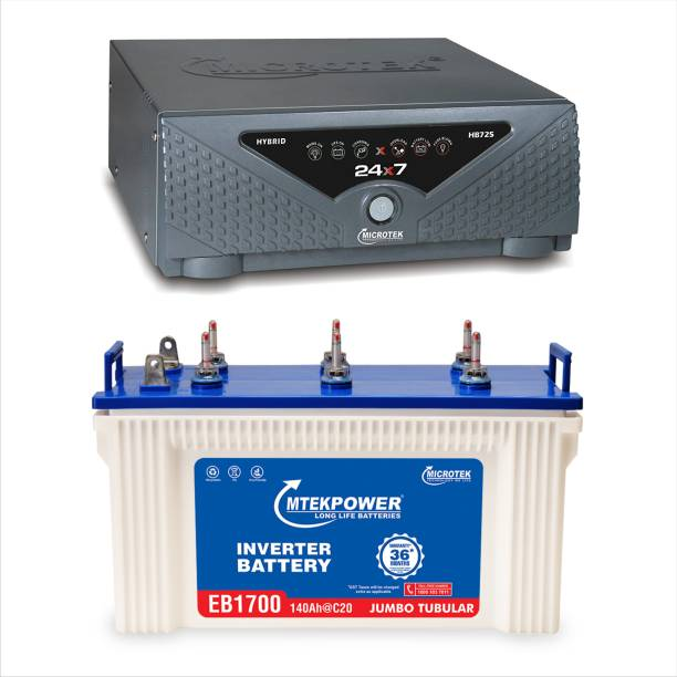 Microtek HB725 Sine Wave +EB1700 140 AH Tubular Inverter Battery