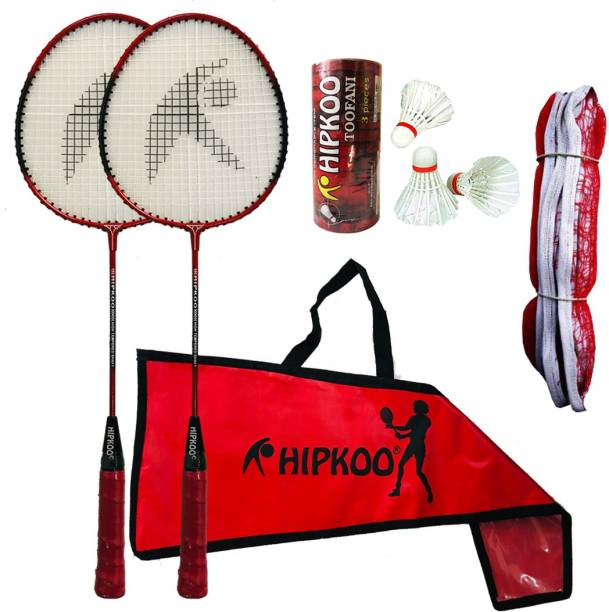 Hipkoo Sports Great Badminton Combo Set with 2 Rackets, 3 Feather Shuttles And Net Badminton Kit