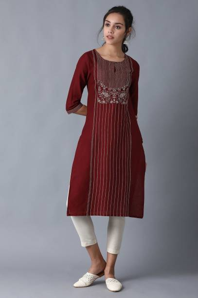 W Women Embroidered Straight Kurta