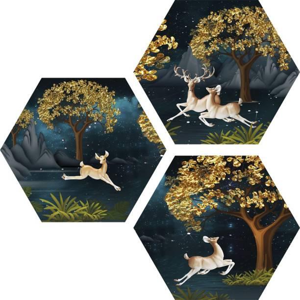 Janki Modern Art Dear (Hiran) in Forest 3 Piece Set of 3 Hexagon 6mm MDF Wall Painting Digital Reprint 21.5 inch x 21.5 inch Painting