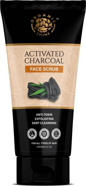 Organic Shine Activated Charcoal Face Scrub Deep cleansing, anti-acne & Pimples, Blackheads removals for men & women Scrub