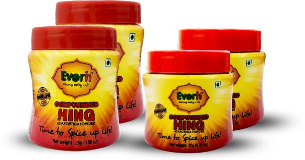 Everin Compounded Asafoetida Hing Powder Combo 10gm and 25gm Pack of 2 each
