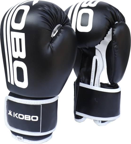 KOBO P.U Leather Boxing, Punching Bag Sparring Training Gym Muay Thai Mitts Fight Boxing Gloves