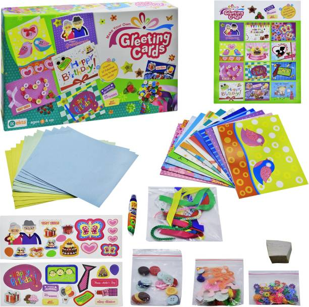 Ekta Make your own greeting cards Craft Kit for kids - Create 12 Fabolous ready to make cards! DIY - Do it yourself buy online gift item