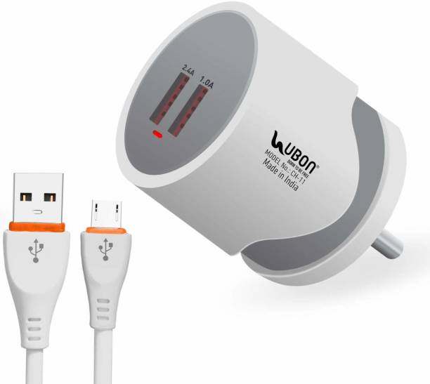 Ubon 2.4A Wall Charger with Micro-USB Cable Dual USB Port Travel Fast Charging Power Adapter Compatible with Mobile Phones, Tablets & Other Devices 2.4 A Multiport Mobile Charger with Detachable Cable