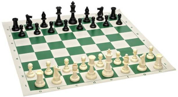 """TIMA 17"""" x 17"""" Tournament Chess Set   Green Roll-up Vinyl Mat with Black and White Plastic Filled Chessmen Strategy & War Games Board Game"""