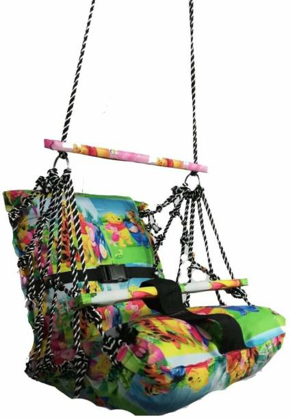 Jantrex Cotton Swing for Kids Baby's Children Folding and Washable 1-3 Years with Safety Belt Home Garden Jhula for Babies Swings