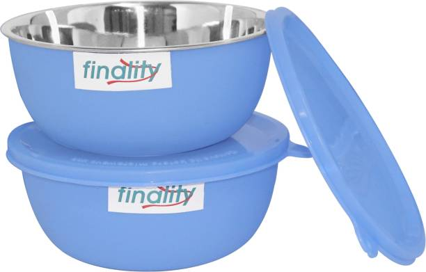 finality Microwave Safe Stainless Steel Plastic Coated Bowl 14 cm each bowl Stainless Steel Storage Bowl