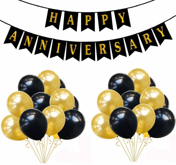 PartyballoonsHK Black, Gold Happy Anniversary Combo with Banner and 51 Pieces Balloon for Anniversary Decoration
