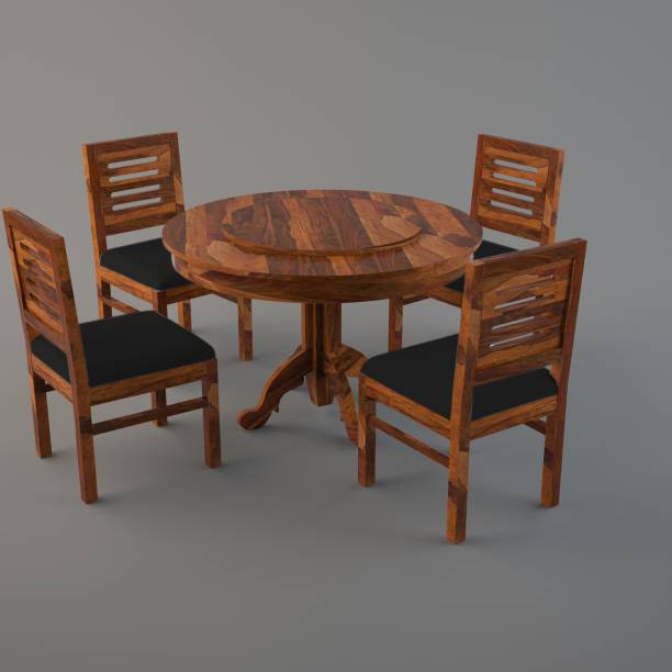 Cherry Wood Solid Wood 4 Seater Dining Set (Finish Color - Walnut) Solid Wood 4 Seater Dining Set