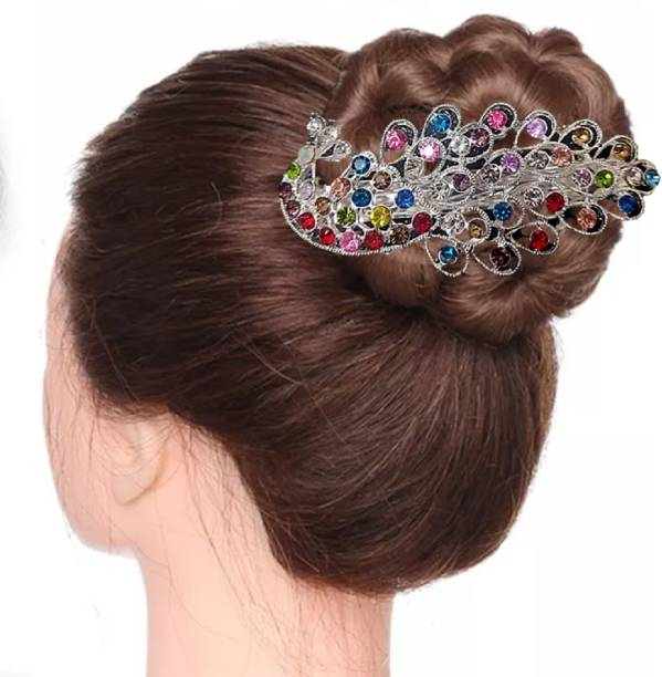 Proplady Wedding Collection Peacock Style Zircons & Rhinestones Stud Large Multicolor Bridal Hair Clip, Bun Clip, Back Pin for Girls & Women Back Pin