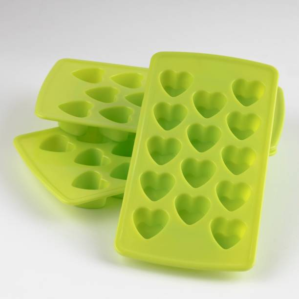 MOUNTHILLS Plastic 2 In 1 Heart Shape Ice Cube Tray & Chocolate Moulds,14 in 1 Ice Cube Tray,Heart Shape Chocolate maker tray & ice tray for freezer (GREEN, PACK OF 3) Green Plastic Ice Cube Tray