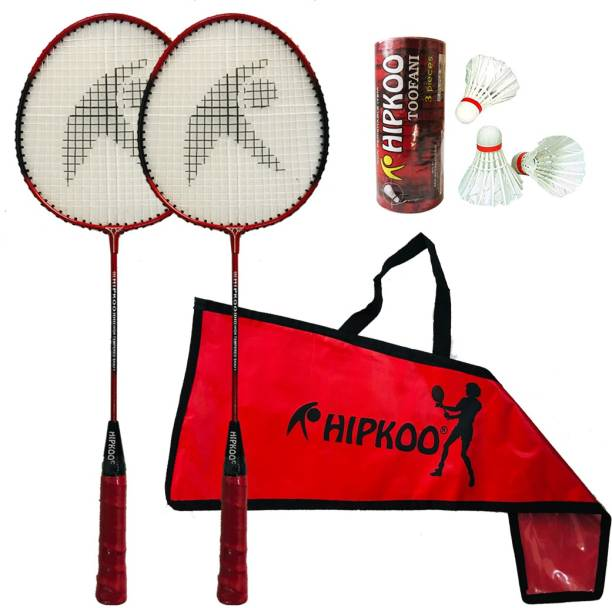 Hipkoo Sports Series Badminton Complete Set With 2 Rackets and 3 Feather Shuttles Badminton Kit