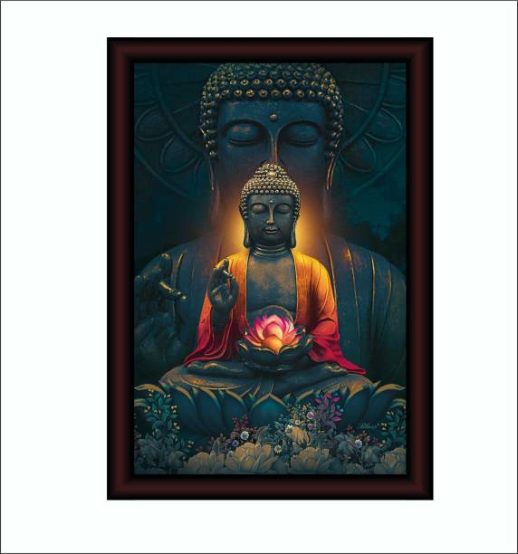 SAF Acrylic Glass Large Royal Cherry Premium Framed Buddha Acrylic 14 inch x 20 inch Painting