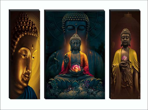 SAF Set of 3 Large Buddha 6MM MDF Self Adhesive Digital Reprint 18 inch x 24 inch Painting