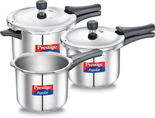 Prestige Popular Stainless Steel Combination Pack 5 L, 3 L, 2 L Induction Bottom Pressure Cooker